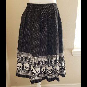NWT Hell Bunny Clara Skirt with White Skulls
